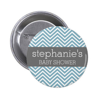Pastel Blue & Gray Baby Shower Suite 2 Inch Round Button