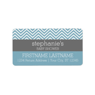 Pastel Blue & Gray Baby Shower Suite Address Label