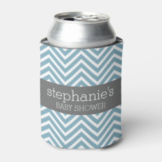 Pastel Blue & Gray Baby Shower Suite Can Cooler