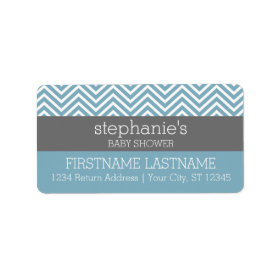Pastel Blue & Gray Baby Shower Suite Personalized Address Label