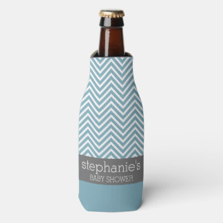 Pastel Blue & Gray Baby Shower Suite Bottle Cooler