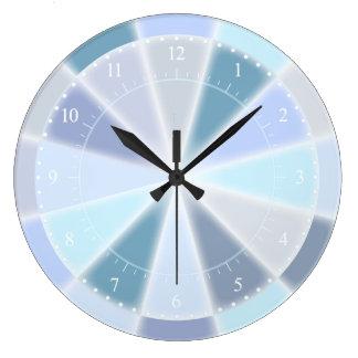 Pastel Blue Green Purple and Aqua Elegant Glow Large Clock