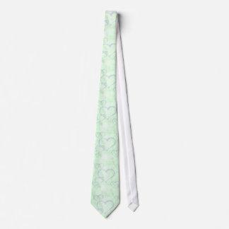 Pastel Blue Green Valentine Hearts Men's Tie