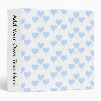 Pastel Blue Heart Balloon Pattern. 3 Ring Binder