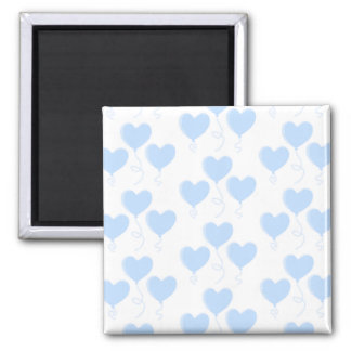 Pastel Blue Heart Balloon Pattern. 2 Inch Square Magnet