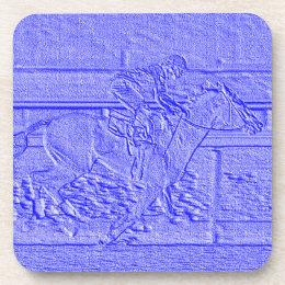 Pastel Blue Horse Racing Thoroughbred Racehorse Beverage Coaster
