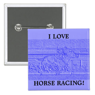 Pastel Blue Horse Racing Thoroughbred Racehorse Button