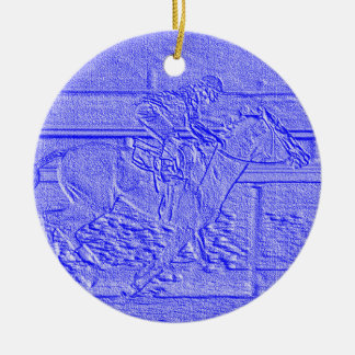 Pastel Blue Horse Racing Thoroughbred Racehorse Ceramic Ornament