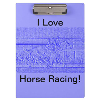 Pastel Blue Horse Racing Thoroughbred Racehorse Clipboards