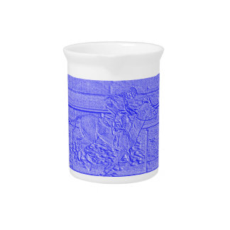 Pastel Blue Horse Racing Thoroughbred Racehorse Drink Pitchers