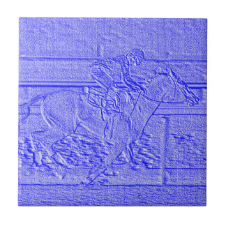 Pastel Blue Horse Racing Thoroughbred Racehorse Tile