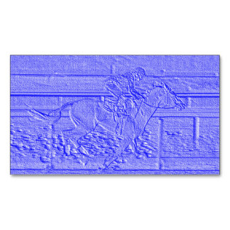 Pastel Blue Horse Racing Thoroughbred Racehorse Magnetic Business Cards