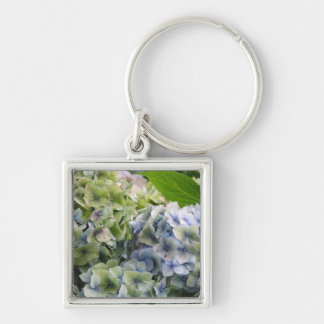 Pastel Blue Hydrangeas Silver-Colored Square Keychain