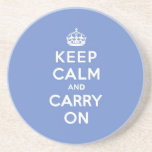 Pastel Blue Keep Calm and Carry On Beverage Coaster
