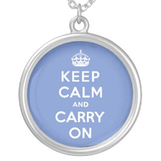 Pastel Blue Keep Calm and Carry On Round Pendant Necklace