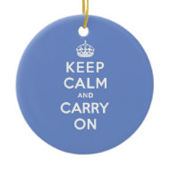 Pastel Blue Keep Calm and Carry On Christmas Tree Ornament