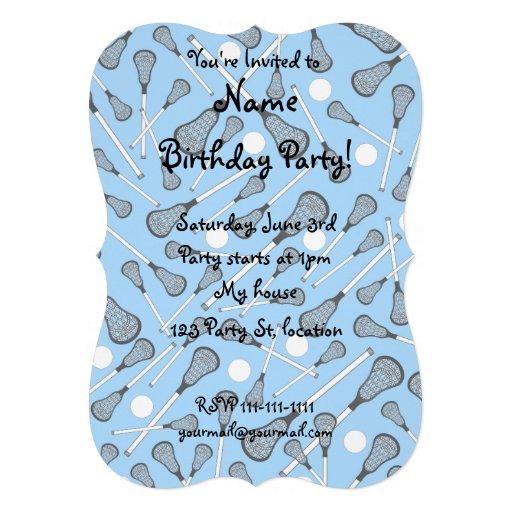 Pastel blue lacrosse sticks pattern custom invitations