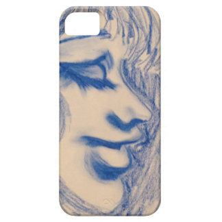 Pastel Blue Lady Sketched iPhone Case iPhone 5 Case