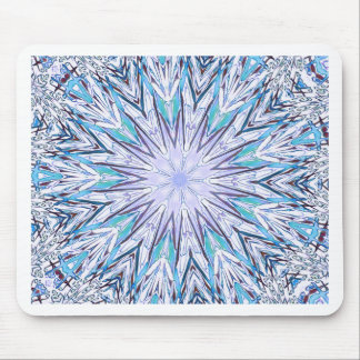 Pastel Blue Lavender White Snowflake Mandala Mouse Pad