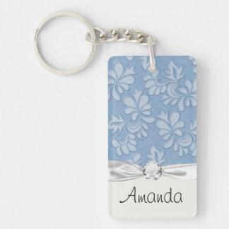 pastel blue leaf swirl floral flower damask keychain