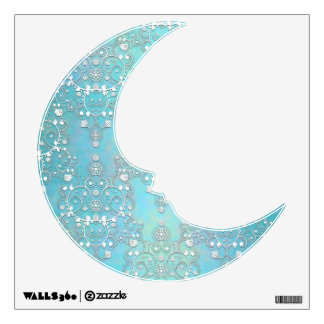 Pastel Blue Man on the Moon Damask Wall Decals