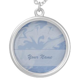 pastel blue marblized name round pendant necklace
