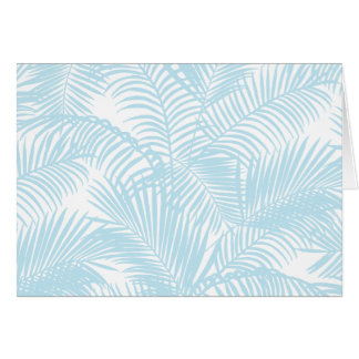 Pastel blue modern simple tropical palm tree flora card
