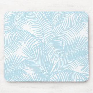 Pastel blue modern simple tropical palm tree flora mouse pad
