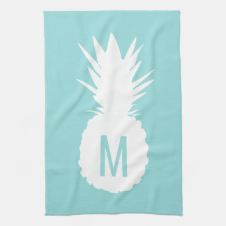 pastel blue monogram pineapple hand towel