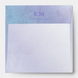 Pastel Blue n Purple Wedding Invitation Envelopes