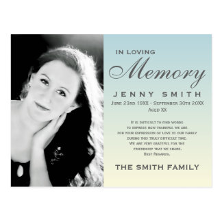 Pastel Blue Ombré Memorial Family Acknowledgement Postcard