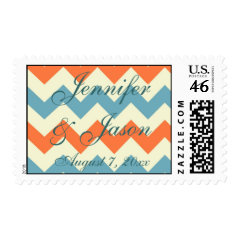 Pastel Blue Orange Chevron Stripes Wedding Postage