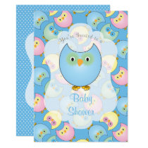 Pastel Blue Owl Baby Shower Card