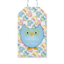 Pastel Blue Owl Baby Shower Theme Gift Tags