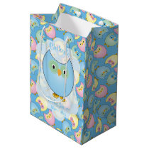 Pastel Blue Owl Baby Shower Theme Medium Gift Bag