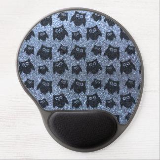 Pastel blue owl glitter pattern gel mouse mat