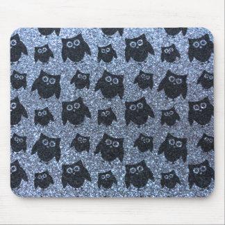 Pastel blue owl glitter pattern mouse pads
