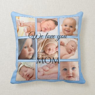 Pastel Blue Painted Photo Collage Pillow