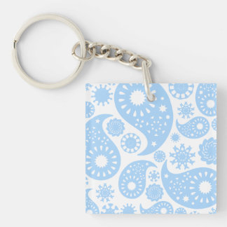 Pastel Blue Paisley Design. Keychain