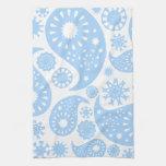Pastel Blue Paisley Design. Kitchen Towels