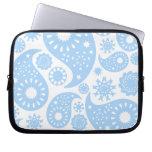 Pastel Blue Paisley Design. Laptop Computer Sleeves
