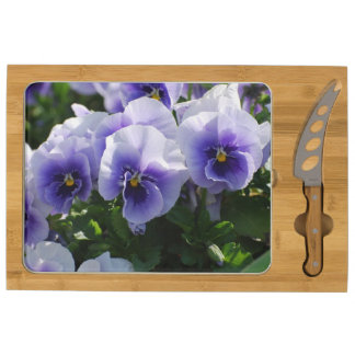 Pastel Blue Pansies Cheese Platter