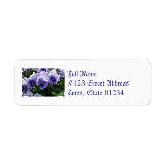 Pastel Blue Pansies Label