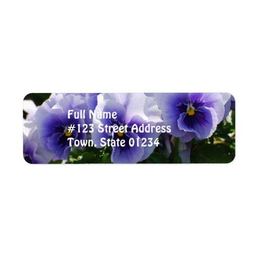Pastel Blue Pansies Custom Return Address Label