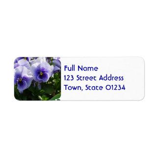 Pastel Blue Pansies Return Address Label