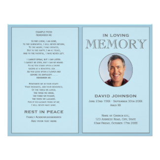 Pastel Blue Photo Order of Service Funeral Program Flyer