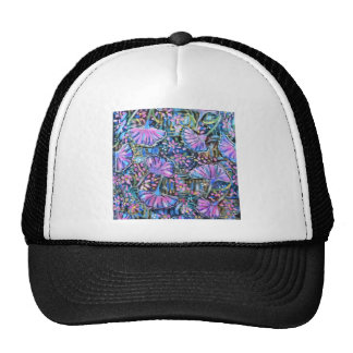 Pastel blue, pink and lilac Ginkgo flowers Hat