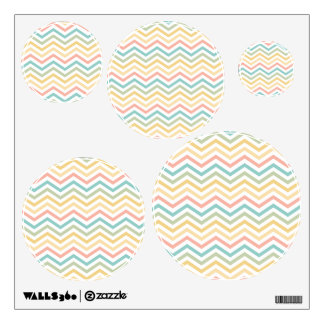 Pastel Blue Pink Yellow Zigzag Wall Decal