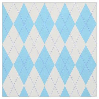Pastel Blue Plaid Argyle Pattern Fabric