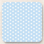 Pastel Blue Polka Dot Pattern Beverage Coasters